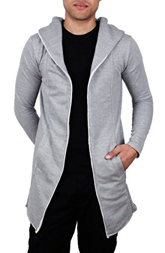 Bleecker & Mercer Men's French Terry Open Cardigan Hooded Sweatshirt-Heather Grey-L