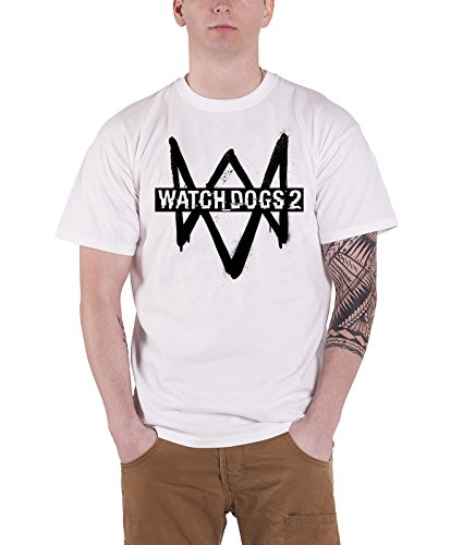 Watch Dogs 2 T Shirt Game Logo Official Ps4 Xbox Mens White