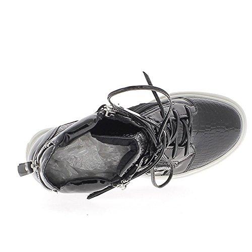 Baskets compensées montantes noires serpent à talon de 8cm
