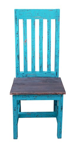 Rustic Turquoise Scraped Santa Rita Chair   Solid Wood   Western