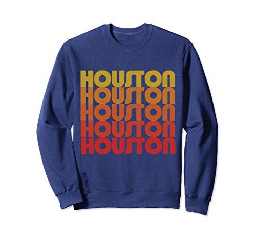 Unisex Retro Houston Texas sweatshirts vintage style houston pride Large Navy (Jumper Retro)