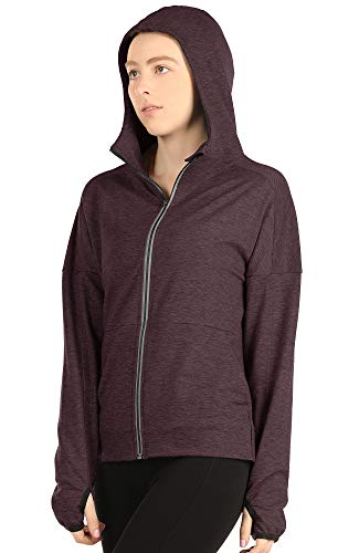 icyzone Workout Track Jackets for Women - Athletic Exercise Running Zip-Up Hoodie with Thumb Holes (XL, Burgundy) (Burgundy Workout Jacket)