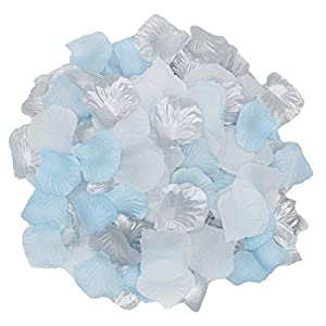 2NDTONONE Boys Baby Shower Birthday Decorations White Blue Silver Silk Rose Petals Artificial Flower Petals Table Scatter Aisle Runner Wedding Gender Reveal Party Decoration 20