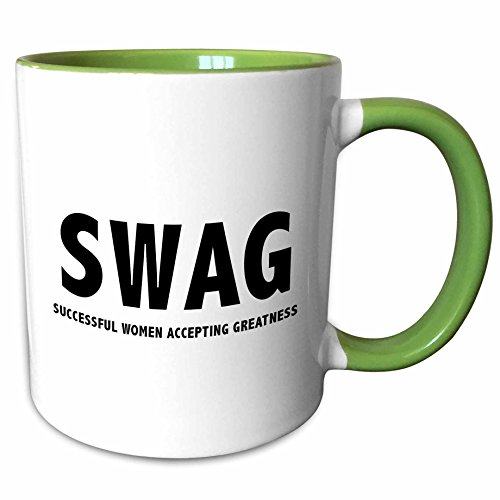 Lady Anne Collection (3dRose Tory Anne Collections Quotes - SWAG SUCCESSFUL WOMEN ACCEPTING GREATNESS - 11oz Two-Tone Green Mug (mug_256102_7))