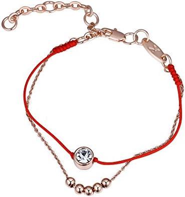 HuaQingPiJu-JP ヨーロッパとアメリカのスタイルの恋人赤いロープのブレスレットクリスタルビーズカップルのための二重層のブレスレット(ローズゴールド)