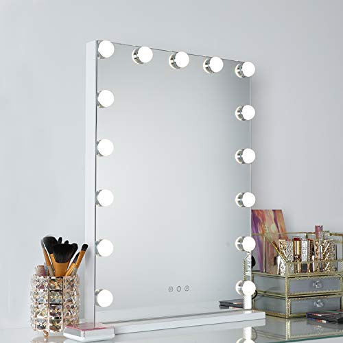 WAYKING Makeup Mirror with lights, Hollywood Vanity Mirror with Touch Screen Dimmer, USB Charging Port, 3 Color Lighting Modes, White L16.9 X H22.8 inch