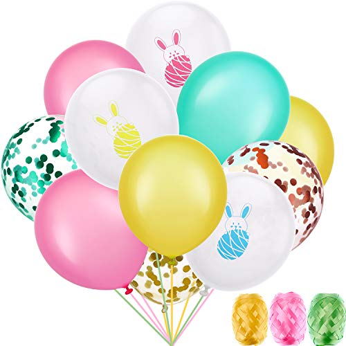 Chuangdi Easter Balloon Decoration Set, Include 45 Pieces Bunny Pattern Balloons Colorful Latex Balloons Confetti Balloons and 3 Rolls Ribbons for Easter Party Supplies
