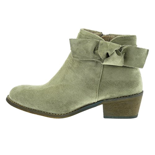CM Fashion 5 Ankle Shoes high heel Block buckle knot Angkorly boots Khaki Booty Fancy cavalier Women's Chic node U5wnqAxa