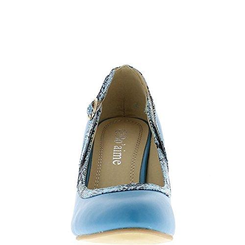 ChaussMoi Zapatos Azules con Tacón Fino DE 9,5 cm con Ribete