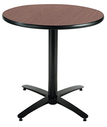 KFI Seating Round Pedestal Table with Arched X Base, Commercial Grade, 42-Inch, Dark Mahogany Laminate, Made in the USA