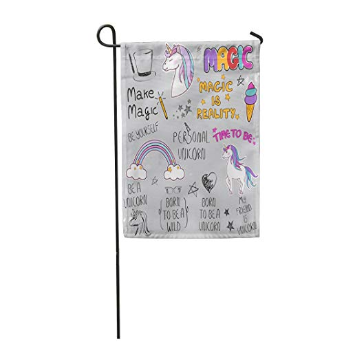 Semtomn Garden Flag 28x40 Inches Print On Two Side Polyester Unicorn Slogan Gray for Site Label Placard and Creative Kids Painting Home Yard Farm Fade Resistant Outdoor House Decor Flag ()