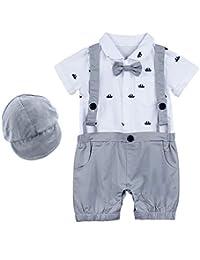 MOMBEBE COSLAND Baby Boys' Ship Gentleman Rompers with Hat