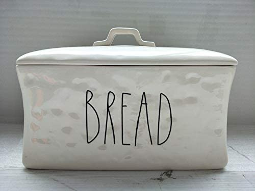 Amazon Com Flawed Ceramic Bread Box Bread Large Letter Engraved Rustic Farmhouse Kitchen Decor Kitchen Dining