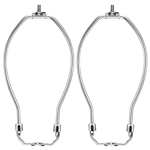 """BTNOW 2 Pack Lamp Harp 8"""" Finial and Lamp Harp Holder Set, Silver"""