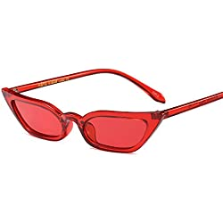 Freckles Mark Super Skinny Narrow Small Pointed Semi Cat Eye Women Sunglasses (Red, 52)