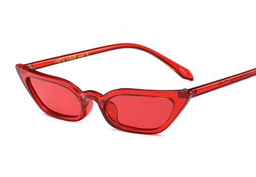 Freckles Mark Super Skinny Narrow Small Pointed Semi Cat Eye Women Sunglasses (Red, - Sunglasses Eye Slim Cat
