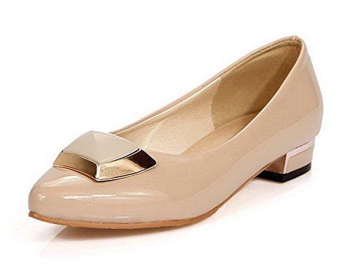 AllhqFashion Damen Lackleder Spitz Zehe Ziehen auf Rein Pumps Schuhe Aprikosen Farbe