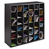 Wood Mail Sorter with Adjustable Dividers, Stackable, 36 Compartments, Black, Sold as 1 Each
