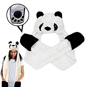 Dazzling Toys Plush Panda Hat with Long Paws Multi-Functional Novelty Hoodie Cap | Halloween Purim Christmas Costume Accessory