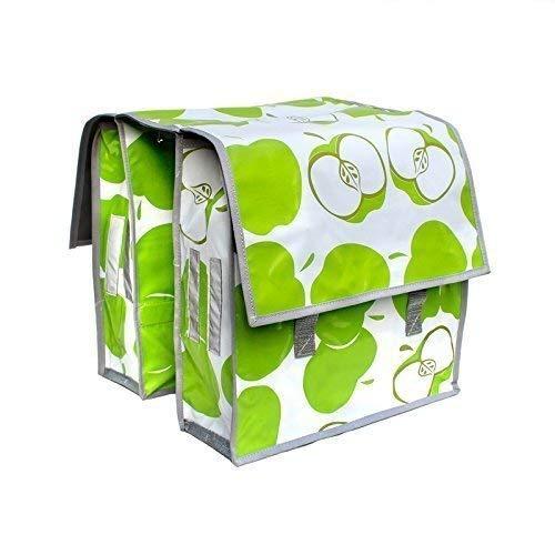 Sacoche vé lo pour porte-bagage - Sacoche de selle - Pack Sacoche en toile ciré e pour femme, artisanal Manzanas vert