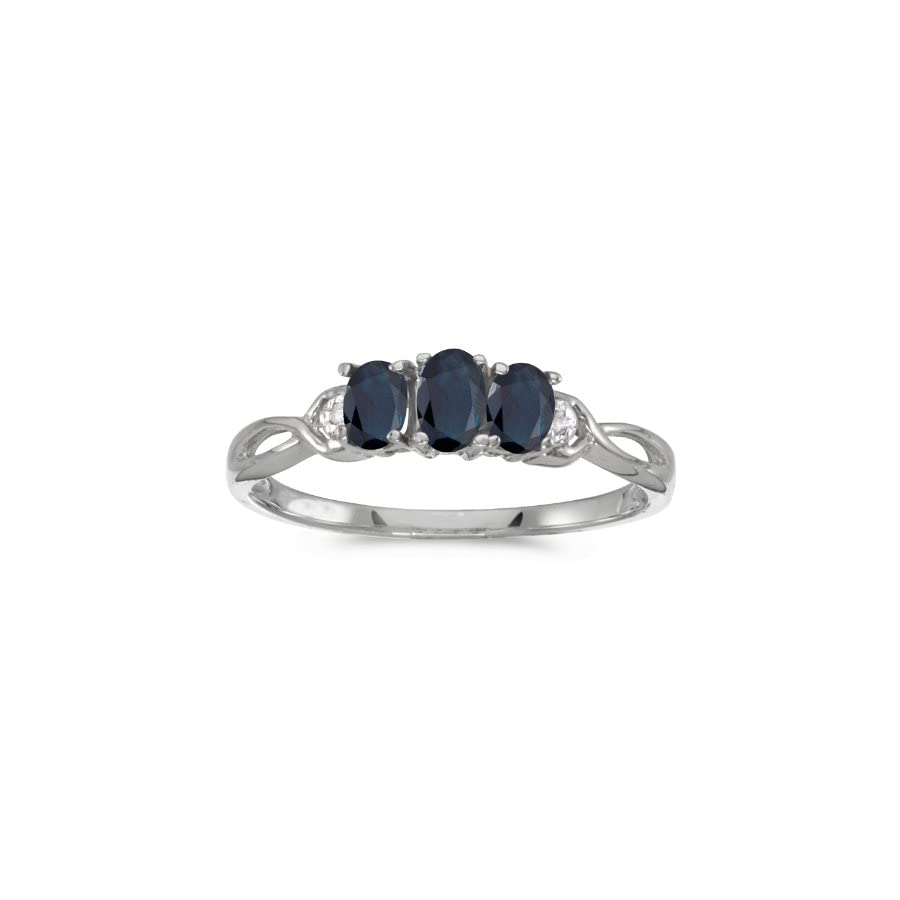 0.61 Carat (ctw) 10k Gold Oval Blue Sapphire and Diamond 3 Three Stone Infinity Promise Engagement Fashion Ring (5 x 3 MM)