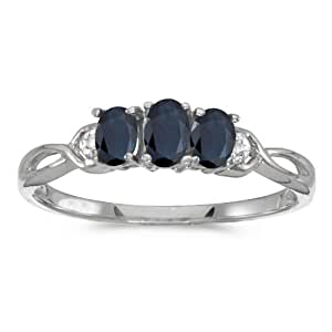 0.61 Carat (ctw) 10k White Gold Oval Blue Sapphire and Diamond 3 Three Stone Infinity Promise Engagement Fashion Ring (5 x 3 MM) - Size 4