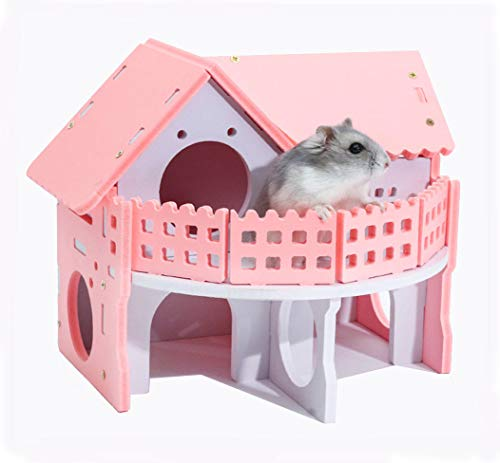 zacheillo Hamster Wood Hideout House with Two Deluxe Layers,Sleep Exercise Playing Balcony Cage Pet Molar Chew Toys for Mouse Mice Pet Small Animals,Pink