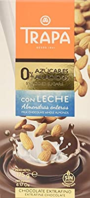 Trapa 0% - Chocolate con Leche y Almendras, 175 g: Amazon.es ...