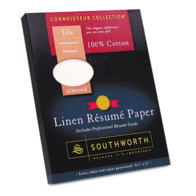 Southworth 100% Cotton Linen Resume Paper, Almond, 32 lbs, 8-1/2 x 11, 100/Box (Resume Southworth Linen Paper)