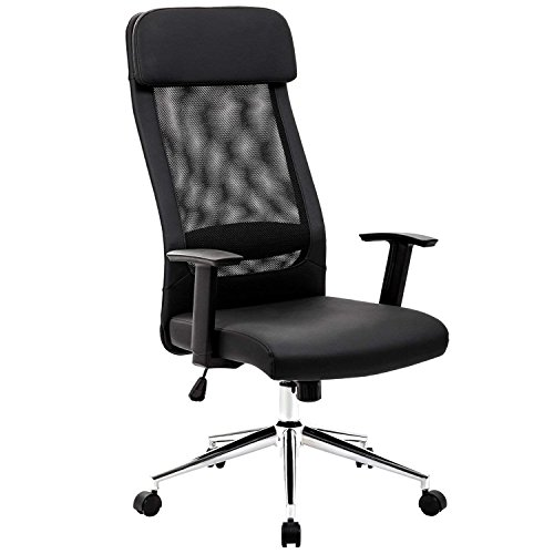 (KADIRYA Extra High Back Mesh Office Chair Computer Desk Task Chair with Padded Leather Removeable Headrest and Seat Adjustable Armrest Ergonomic Design for Back Lumbar Support(Black))