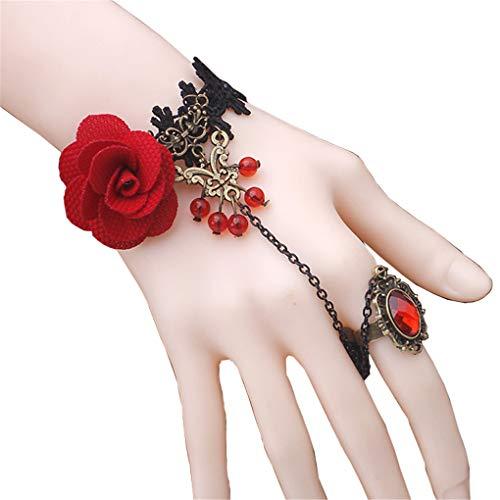 Countonme Handmade Gothic Princess Lolita Retro Lace Slave Vampire Bracelet with Finger Ring Set Wristband Halloween for Women ()