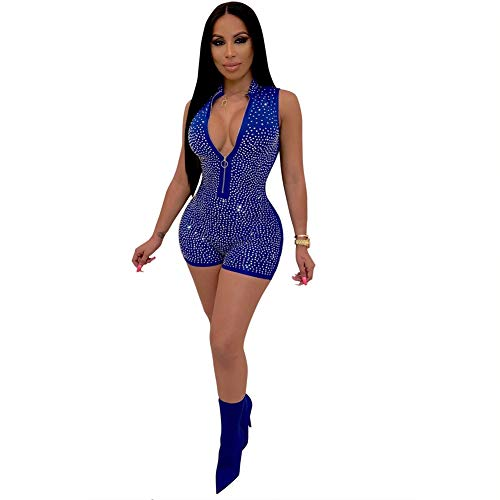 Kafiloe Womens Sexy Rhinestone Sleeveless Zip Up Bodycon Rompers Shorts Jumpsuits Party Clubwear Blue M