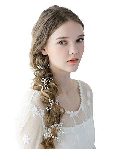 SWEETV Handmade Bridal Hair Vine Piece Pearl Rhinestone Wedding Headband Head Jewelry (37.8 inches)