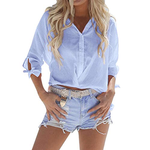 Basic V Neck Loose Blouse, QIQIU 2019 Summer Womens Sexy Button Down Beach Solid Knot Short Sleeve Casual Tops T-Shirts Blue