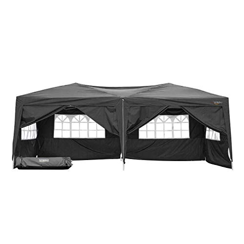 VINGLI 10'x 20' EZ Pop Up Canopy Tent w/6 Removable Sidewalls,Folding Instant Outdoor Gazebo Party Wedding Event Tent,Portable Waterproof UV Coated Shade Shelter,Bonus Wheeled Carry Bag,Black