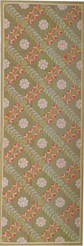Wool Runner Aubusson (Pasargad Aubusson Hand-Woven New Zealand Wool Runner- 3' 3