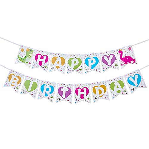 WERNNSAI Dinosaur Birthday Party Decorations - Happy Birthday Banner Pink and Green Bunting Garland Pennant Dinosaur Theme Party Supplies for Kids Girls Pre-Strung Hanging Wall Decors