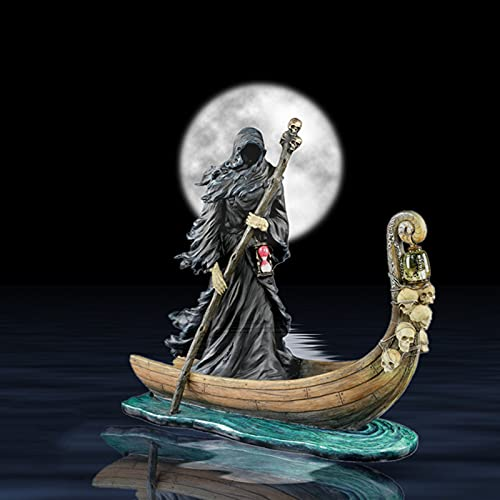 bestheart Gothic Grim Reaper Statue, Soul Bringer Greek Gods Propelling Boat with Lantern,Suitable for Living Room Decoration, Home Furnishings, Bookshelf Decorations, Gifts