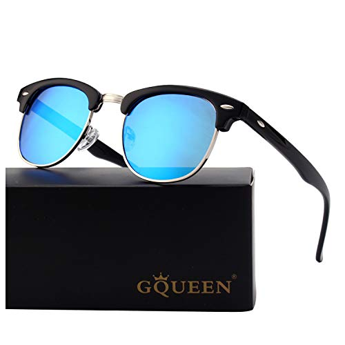 GQUEEN Classic Horn Rimmed Semi Rimless Polarized Sunglasses for Men Women GQO6 ()
