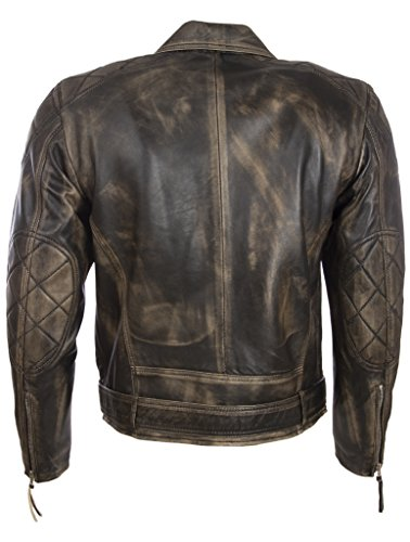 Di Pelle Look Uomo Cintura Vera Con Vintage Biker Aviatrix Giacca Moda wSxTYaEaq