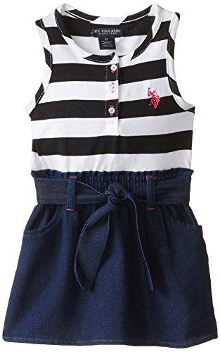 U.S. POLO ASSN. Little Girls' Jersey Top and Denim Bottom Dress, Black, 6X