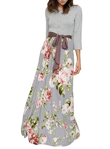 ZESICA Women's Floral Printed 3/4 Sleeve Tie Waist Long Maxi Dress With Pockets - Gray Floral Dress