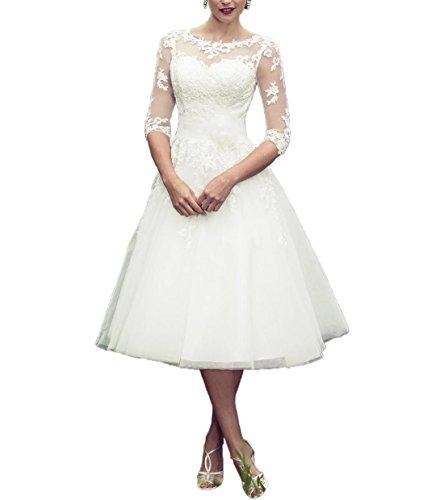 Abaowedding long sleeves lace short tea length wedding for Short lace wedding dress with long sleeves