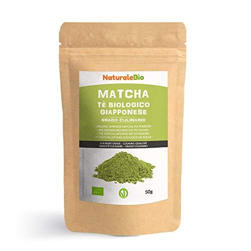 Te Verde Matcha Organico Japones En Polvo [ Grado Culinario ] 50 gr Matcha Biologico para Cocinar Matcha Ecologico Cultivado En Japon, Uji, Kyoto Ideal Para hornear, En a Cocina Y Con Latte