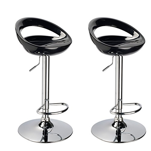 Duhome 2 PCS Swizzle Gloss Finish Crescent Shape Adjustable Swivel Bar Stools Kitchen Counter Top Black
