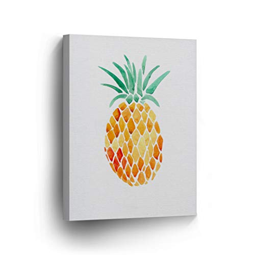(Pineapple Wall Decor Watercolor Painting Tropical Fruit Canvas Print Home Decor Living Room Kitchen Decor Wall Art Framed - Ready to Hang -%100 Made in The USA - 12x8)
