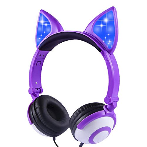 Kids Headphones,LOBKIN Headphones for Kids Girls Toddler,Unicorns Cat Ear Over-Ear/On-Ear Wired Headphones,Adjustable Gaming Headset for Ipad/School/Tablet/Laptop,Great Gifts for Girls(Dark Purple)