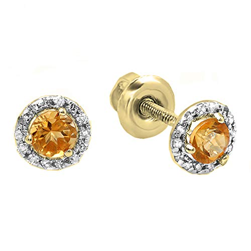 - Dazzlingrock Collection 18K 4 MM Each Round Citrine & White Diamond Ladies Halo Style Stud Earrings, Yellow Gold