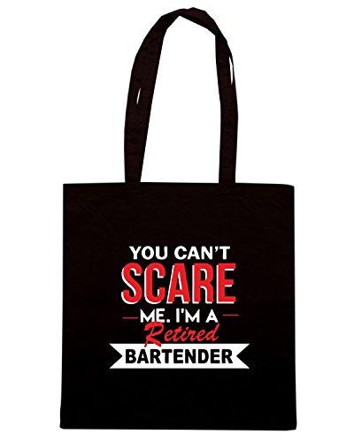 T-Shirtshock - Bolsa para la compra BEER0306 You Can t Scare Me I m A Retired Bartender Negro