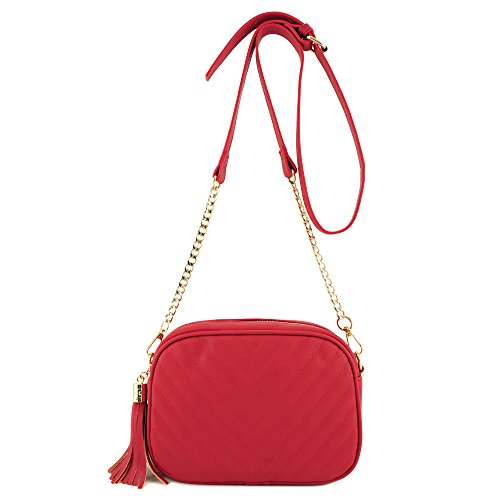 Simple Shoulder Bag Crosbody with Metal Chain Strap and Tassel Top Zipper Red